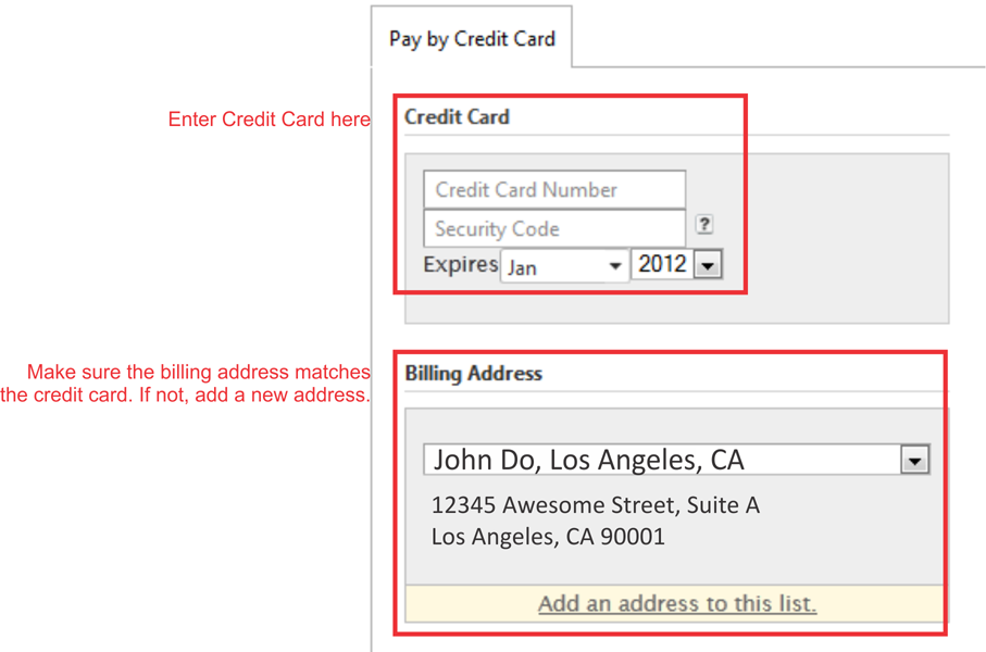 pay by credit card and enter billing address