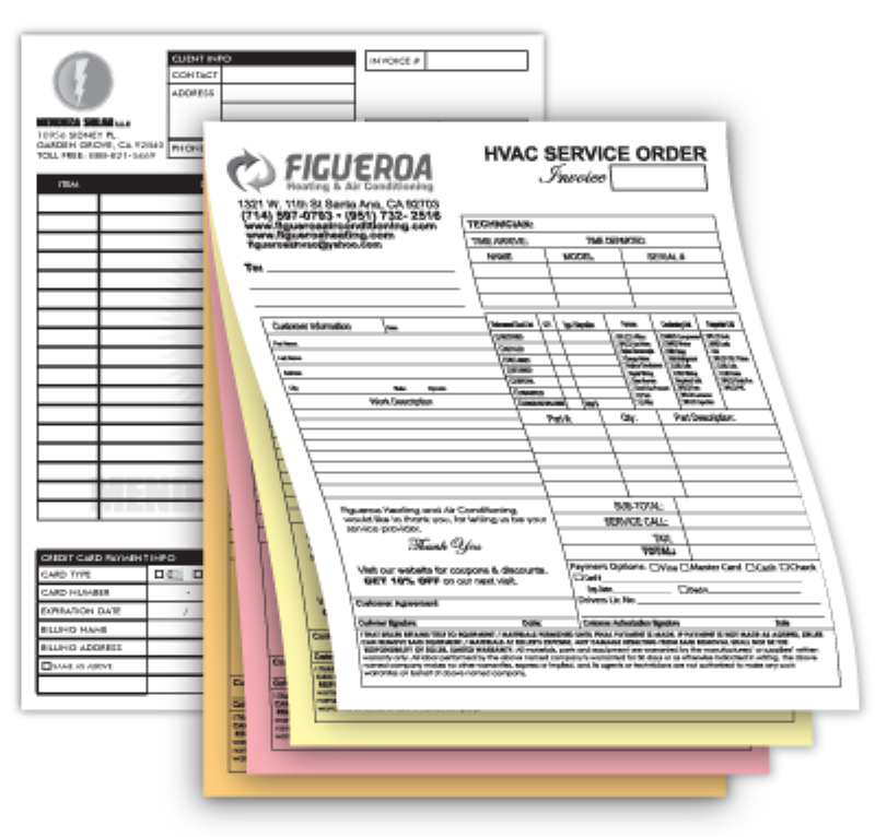 Custom Carbonless Forms Printed To Your Specifications - Custom carbon paper invoices